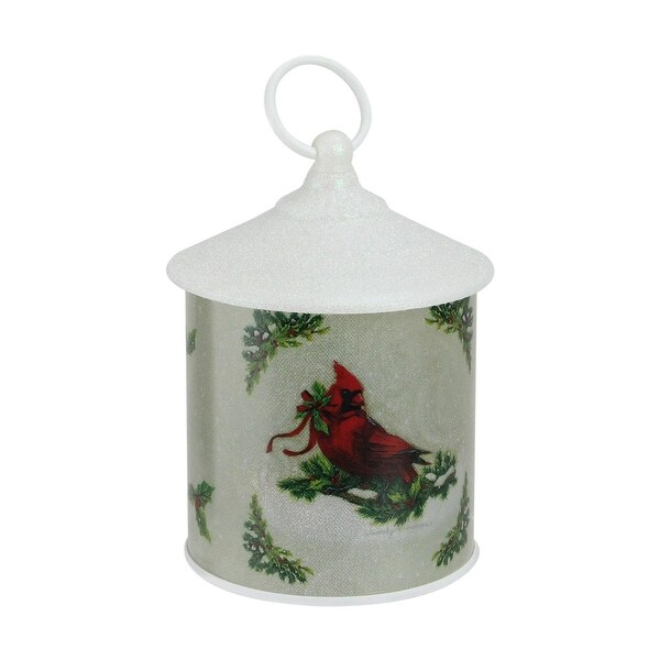 "7.5"" Battery Operated LED White Glittered Cardinal Scene Christmas Lantern"