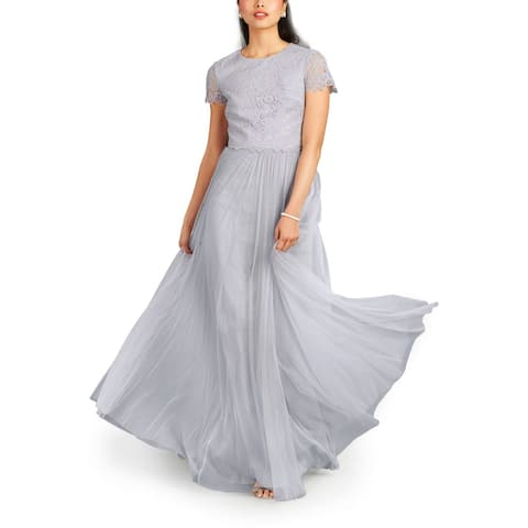 Donna Morgan Womens Two-Piece Skirt Set Gray Size 6 Lace Tulle Gown