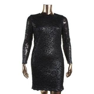 Lauren Ralph Lauren Womens Metallic Lace Cocktail Dress