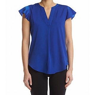 Tommy Hilfiger NEW Blue Womens Size Large L Ruffle Cap Sleeve Blouse