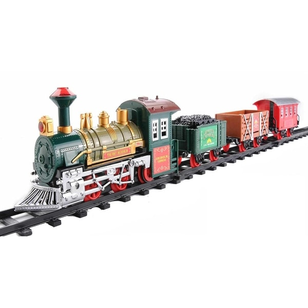 12-Piece Battery Operated Lighted and Animated Continental Express Train Set with Sound