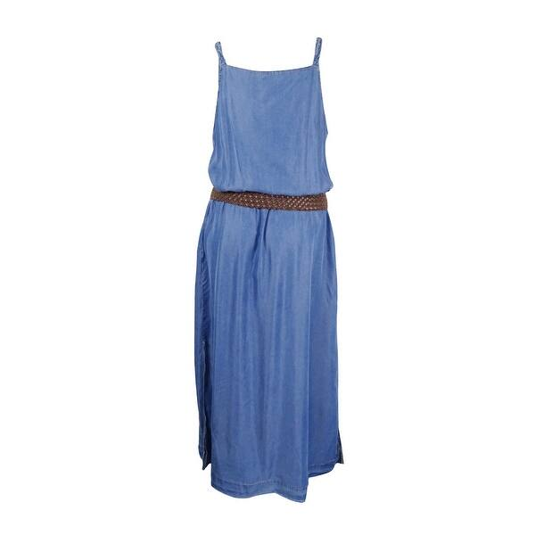 INC International Concepts Womens Plus Size Denim Belted Maxi Dress (1X,  Indigo) - INDIGO - 1x