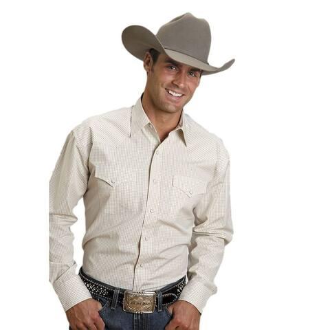Stetson Western Shirt Mens L/S Snap Plaid Gold