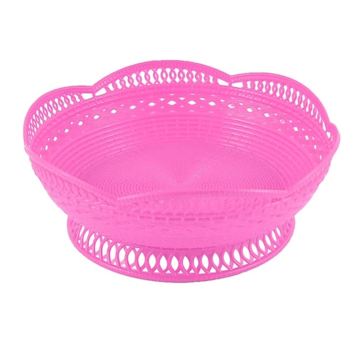 Home Kitchenware Plastic Lotus Shape High Base Vegetable Friut Plate Basket Pink