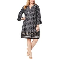 NY Collection Womens Plus Shirtdress Printed Knee-Length