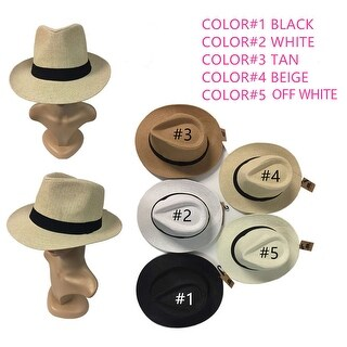 Women Men Brown Fedora Trilby Gangster Cap Summer Beach Sun Straw Panama Hat Bow (More options available)