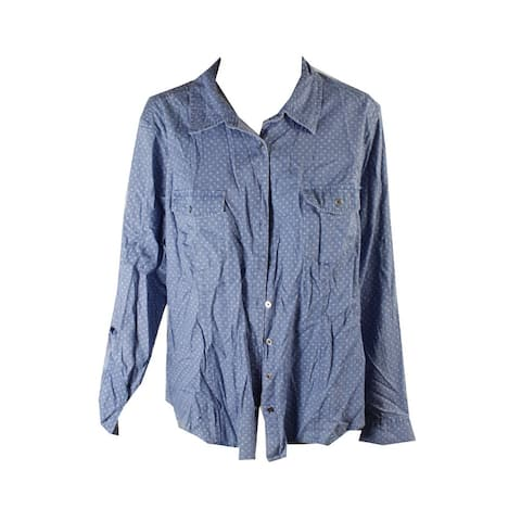Style & Co Blue Simply Dot Pocketed Roll-Tab Button-Down Shirt M