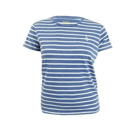 Polo Ralph Lauren Women's Striped Cotton T-Shirt (L, Blue/Cream) - Blue/Cream - PM