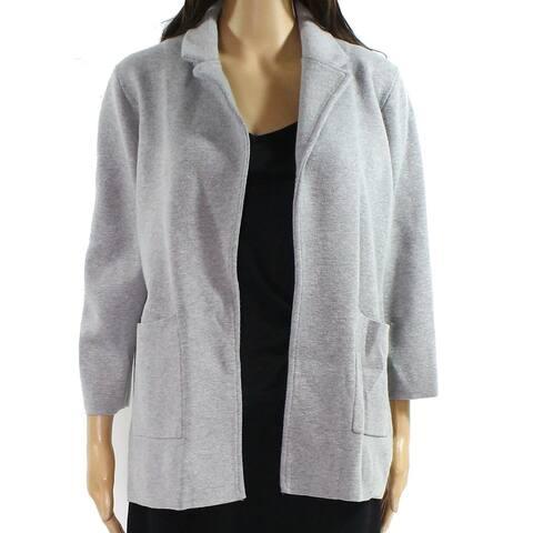 J. Crew Womens Jacket Light Gray Size Large L Knit Notched-Lapel