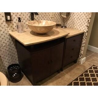 Silkroad Exclusive Travertine Stone Top 47 Inch Bathroom