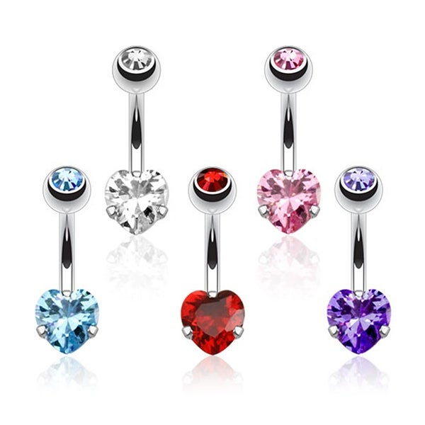 Heart CZ Prong Set Navel Belly Button Ring 316L Surgical Steel