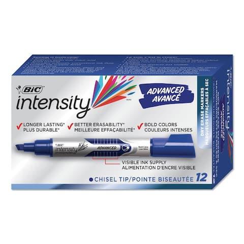 Intensity Tank-Style Advanced Dry Erase Marker, Broad Chisel Tip, Blue, Dozen - Blue
