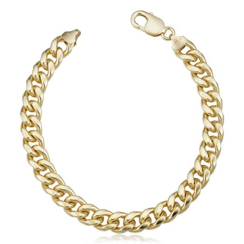 14k Gold Filled 9.2 millimeter Miami Cuban Link Chain Bracelet (9 inches)