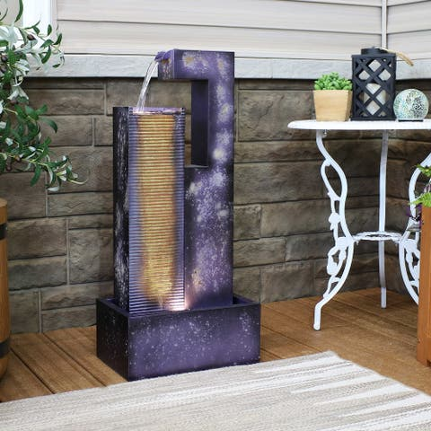 Sunnydaze Cascading Tower Metal Water Fountain with LED Lights - 32-Inch