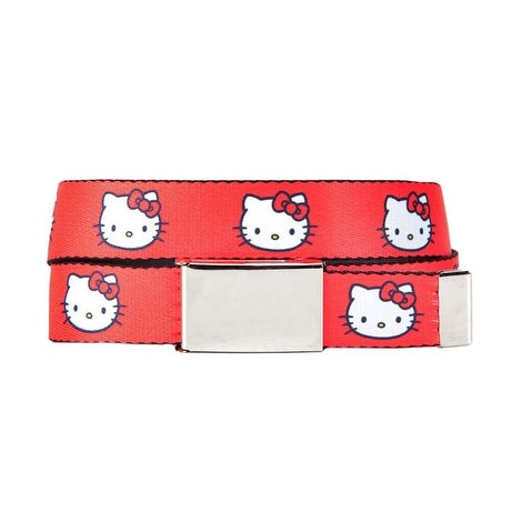 Hello Kitty Head Red Webbed Slide Belt