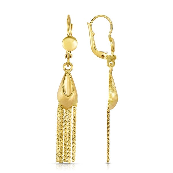 Mcs Jewelry Inc 10 KARAT YELLOW GOLD LEVERBACK DROP DANGLING STRAND EARRINGS (LENGTH: 47MM)