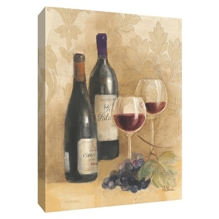 """PTM Images 9-154460  PTM Canvas Collection 10"""" x 8"""" - """"Damask Wine II"""" Giclee Wine Art Print on Canvas"""