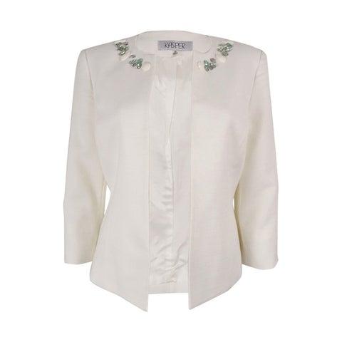 Kasper Women's Beaded Petite Three-Quarter-Sleeve Flyaway Jacket (Ivory, 8P) - ivory - 8P