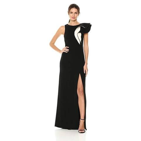 Halston Heritage Women's Sleeveless Boatneck Asymmetrical Flounce Gown SZ: 4