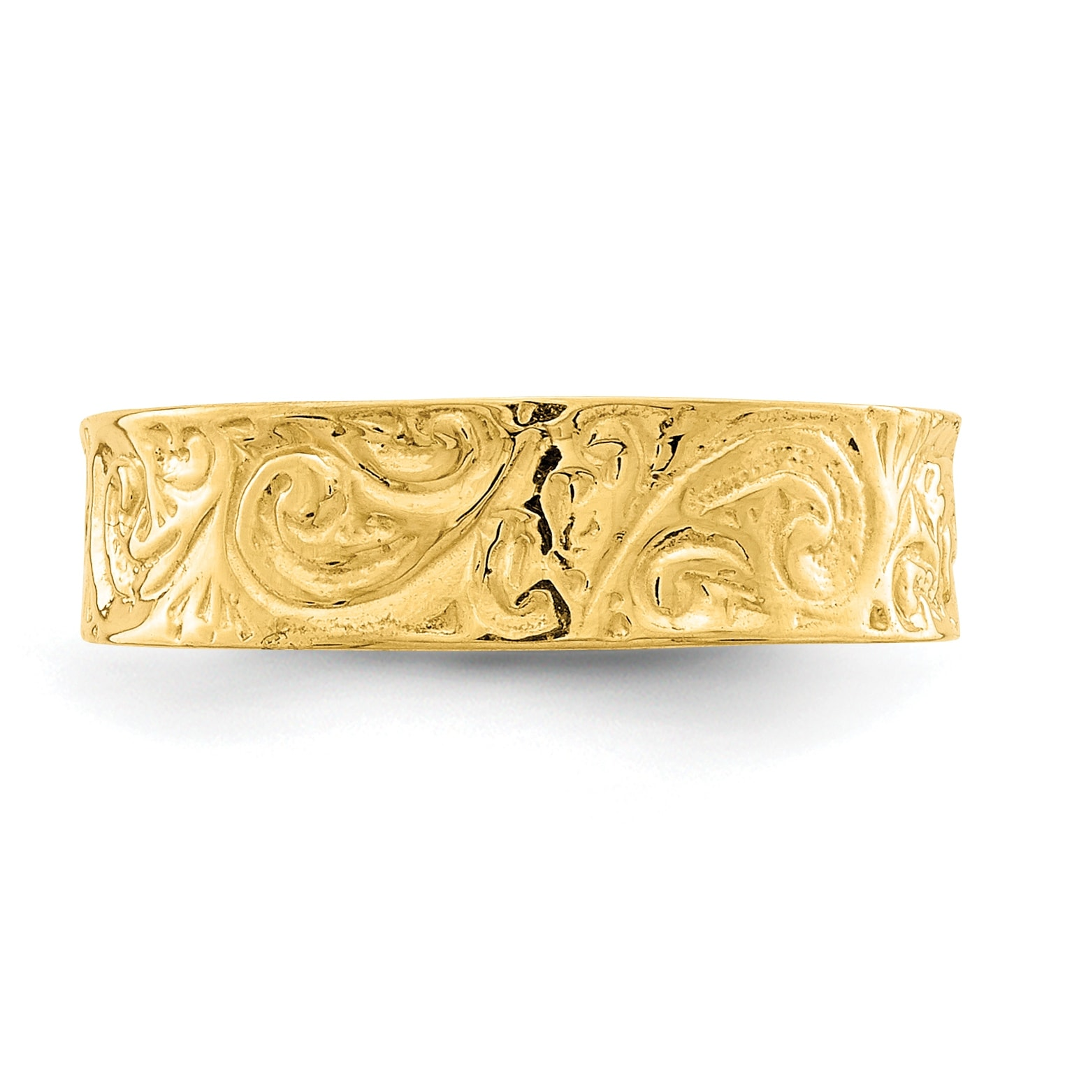 Diamond Cut Two-Tone Pattern Filigree Toe Ring Real 14K Yellow Gold