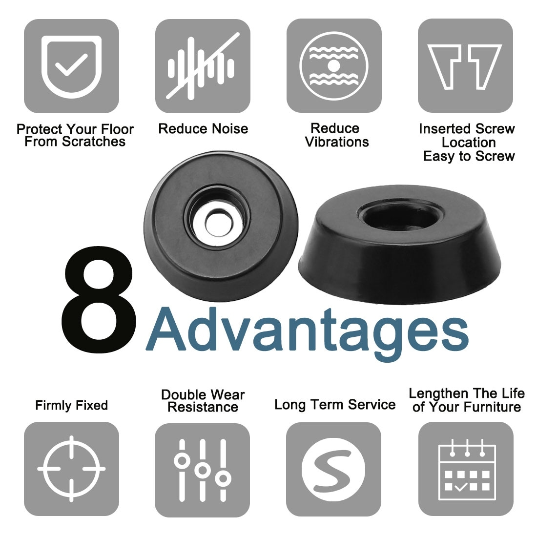 20 Rubber Feet Bumpers Floor Table Desk Furniture Buffer Pad Protection w//Screw