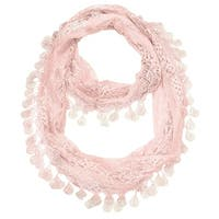 "Women's Sheer Lace Scarf With Teardrops Fringe - Pink - 62"" x 12"""