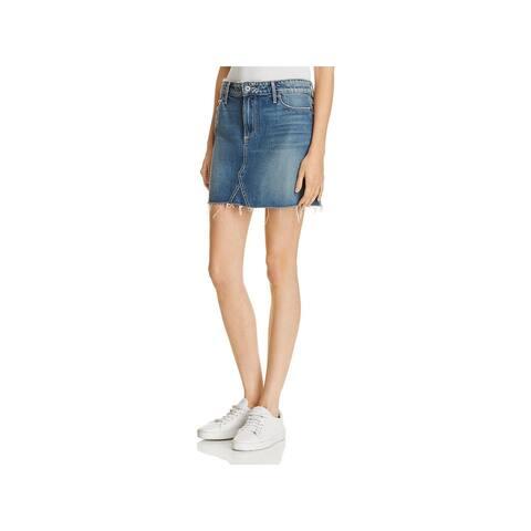 Paige Womens Alethea Denim Skirt Mini Cut Off - 24