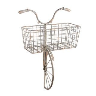 Iron Bicycle Wall Decor - Basket for Storage Magazine Rack Flower Pot Holder - 13 in. x 22 in. x 6 in.