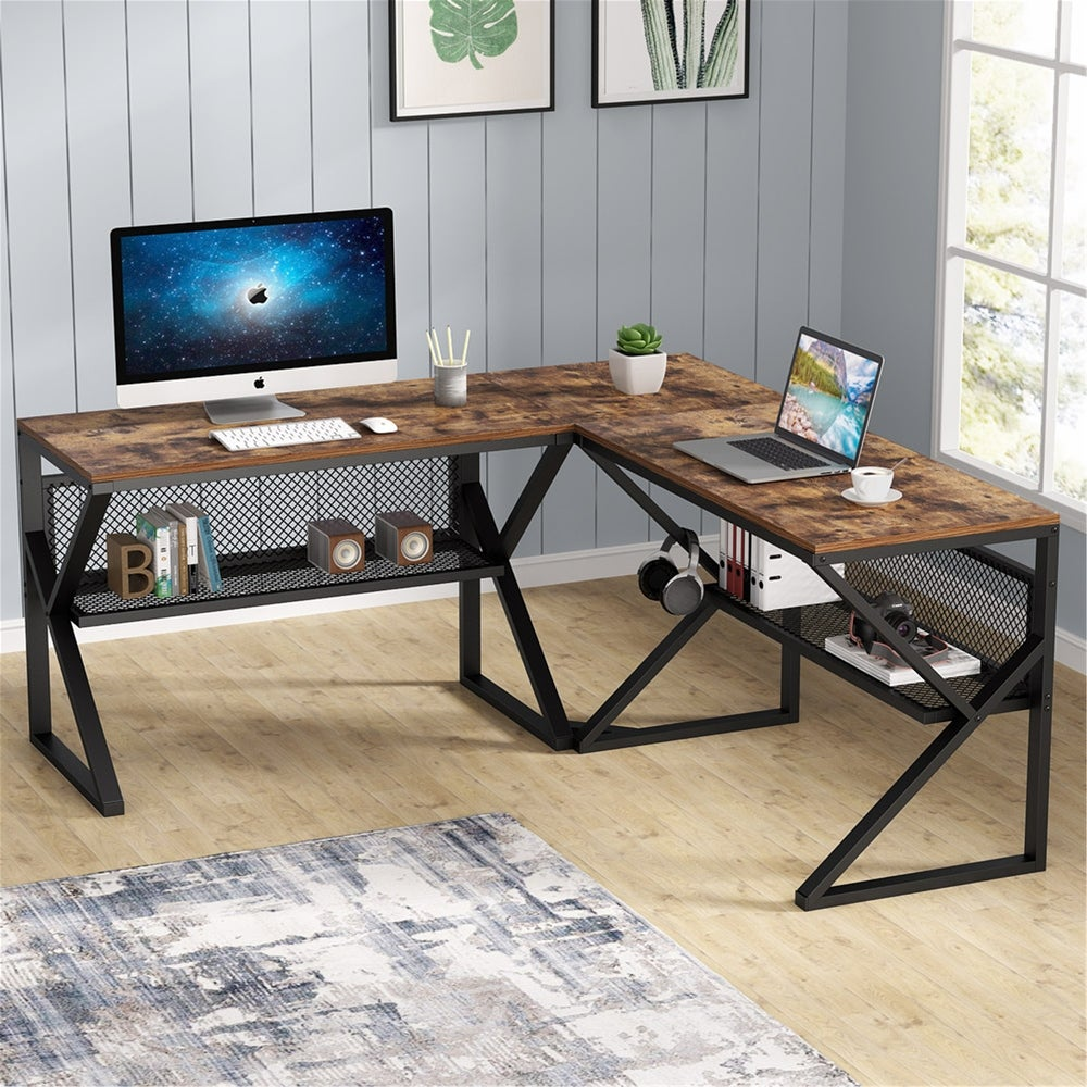 FARFARVIEW INC L-Shaped Computer Desk with Shelves