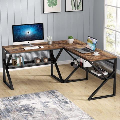 L-Shaped Computer Desk with Shelves, Corner Office Desk