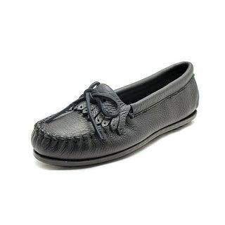 Minnetonka Deerskin Women  Round Toe Leather Black Loafer