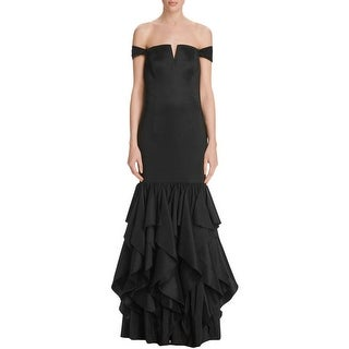 Adrianna Papell Womens Formal Dress Ruffled Off-The-Shoulder