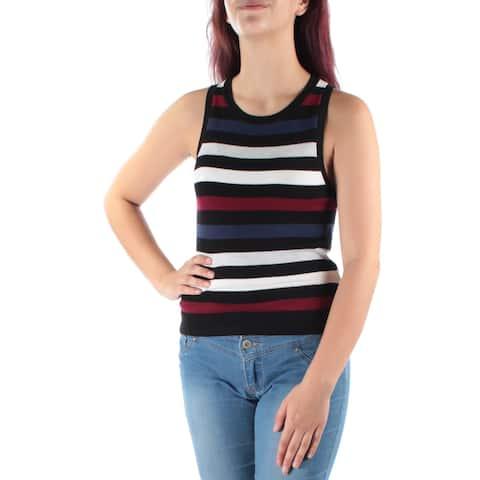 KENSIE Womens Black Striped Sleeveless Jewel Neck Top Size: M
