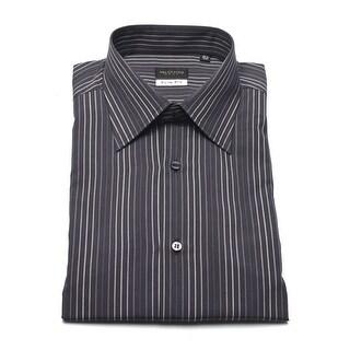 Valentino Men's Cotton Dress Shirt Pinstriped Charcoal Grey