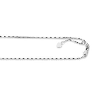 Mcs Jewelry Inc 14 KARAT WHITE GOLD BRIGHT-CUT ADJUSTABLE BOX CHAIN NECKLACE WITH HEART CHARM (ADJUSTABLE TO 22 INCHES)