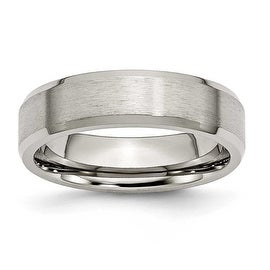 Chisel Beveled Edge Brushed Titanium Ring (6.0 mm)