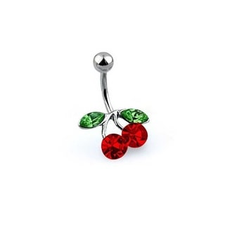 Bling Jewelry Red CZ Cherry Belly Ring 316L Stainless Steel