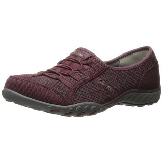 Skechers Sport Women's Breathe Easy Save The Day Fashion Sneaker, Burgundy/Gray Mesh/Gray Trim