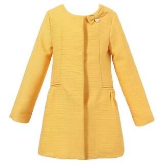 Richie House Girls Dark Yellow Metal Heart Label Bow Coat 8-10