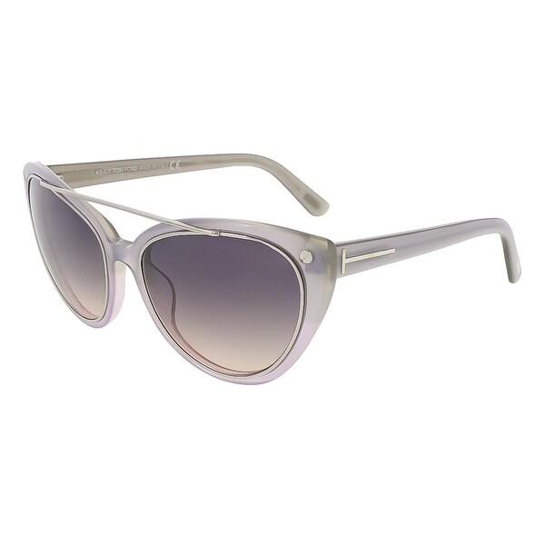 Tom Ford FT0384/S 80B Edita Clear Grey Cateye Sunglasses - clear grey