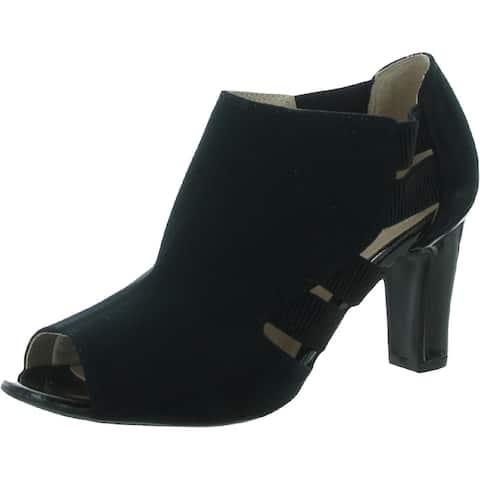 LifeStride Womens Cadenza Peep-Toe Heels Faux Suede Slip On - Black - 7.5 Wide (C,D,W)