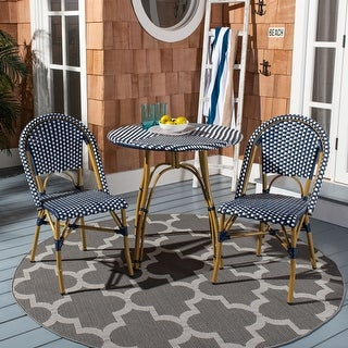 "Safavieh Salcha Indoor-Outdoor French Bistro Navy/ White Stacking Side Chair (Set of 2) - 18""x21.6""x34.6"""