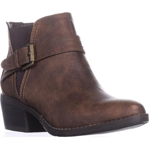 White Mountain Hadley Buckle Ankle Boots, Cognac