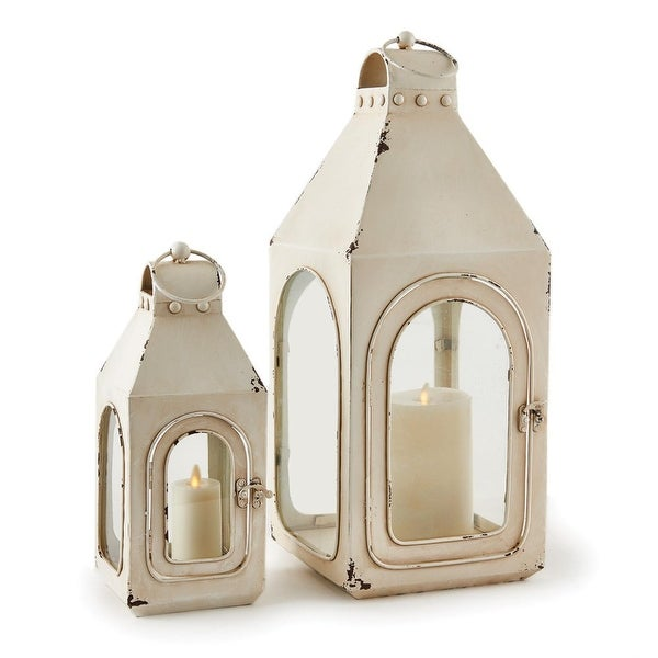 2 Piece Rustic Weathered Antique Beige Finish Decorative Candle Lantern Set - N/A
