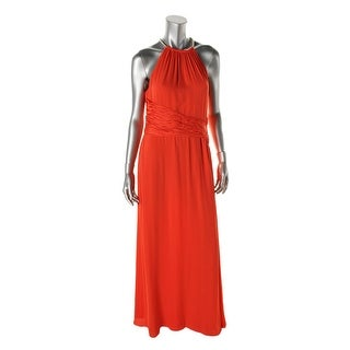 Nine West Womens Halter Ruched Maxi Dress - 10