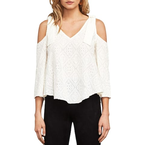 BCBG Max Azria Womens Cassia Pullover Top Embroidered Cold Shoulder