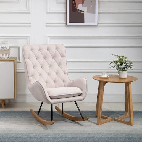 HOMCOM Traditional Comfortable Relax Rocking Armchair Lounge Chair with Tufted Back Thick Padding Metal Frame, Cream White