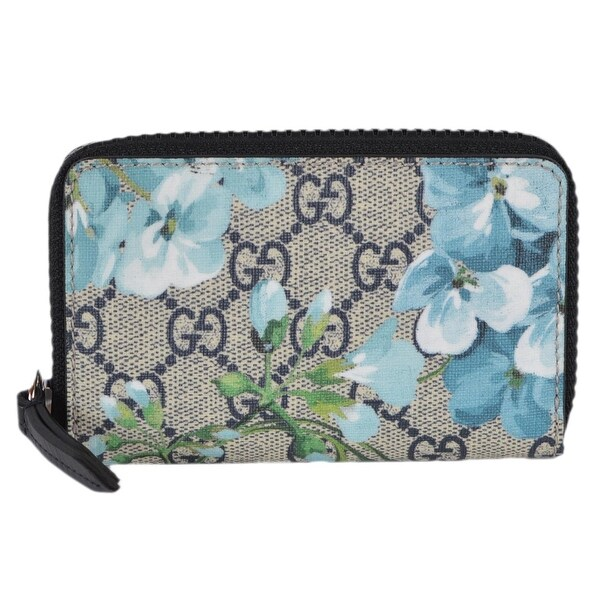 dcfe28d22350fe Gucci 410220 GG Blooms Supreme Coated Canvas Zip Around Card Case Wallet