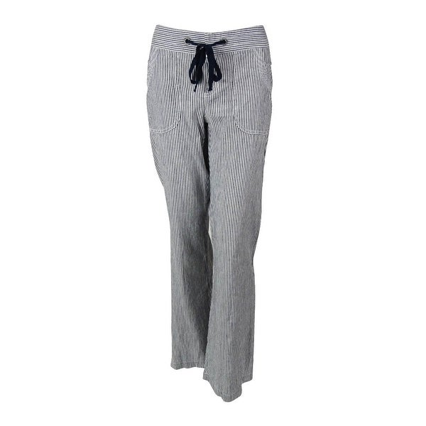 2ebe7c527e Shop INC International Concepts Women's Striped Linen Pants - deep  twilight/white - 4 - Free Shipping On Orders Over $45 - Overstock - 14726728