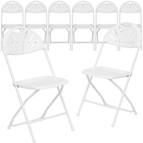 8 Pack 650 lb. Capacity Plastic Fan Back Folding Chair